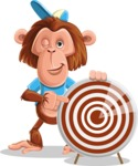 Macaque Monkey With T-Shirt and a Hat Cartoon Vector Character AKA Ron K - Target
