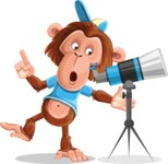 Macaque Monkey With T-Shirt and a Hat Cartoon Vector Character AKA Ron K - Telescope