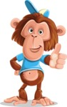 Macaque Monkey With T-Shirt and a Hat Cartoon Vector Character AKA Ron K - Thumbs Up