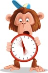 Macaque Monkey With T-Shirt and a Hat Cartoon Vector Character AKA Ron K - Time is Yours