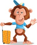 Macaque Monkey With T-Shirt and a Hat Cartoon Vector Character AKA Ron K - Travel 1