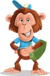 Macaque Monkey With T-Shirt and a Hat Cartoon Vector Character AKA Ron K - Travel 2