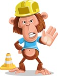 Macaque Monkey With T-Shirt and a Hat Cartoon Vector Character AKA Ron K - Under Construction 1