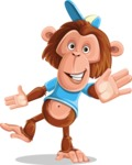 Macaque Monkey With T-Shirt and a Hat Cartoon Vector Character AKA Ron K - Wave
