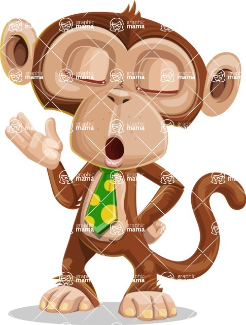 Ape Businessman Cartoon Vector Character AKA Bizzo - Bored 2