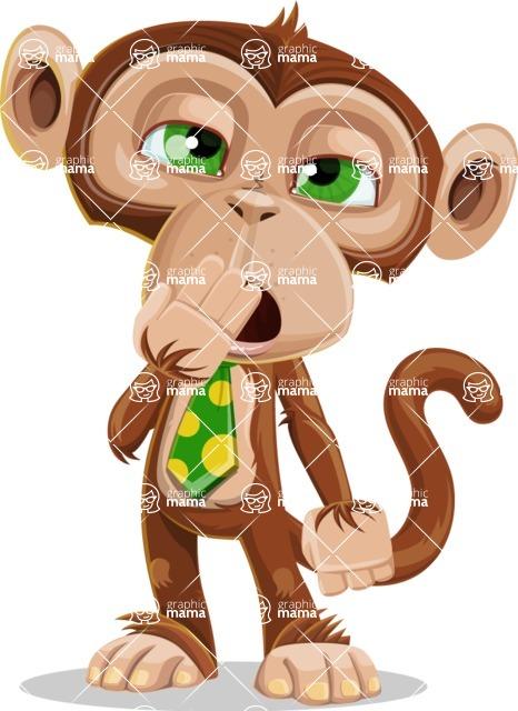 Ape Businessman Cartoon Vector Character AKA Bizzo - Bored