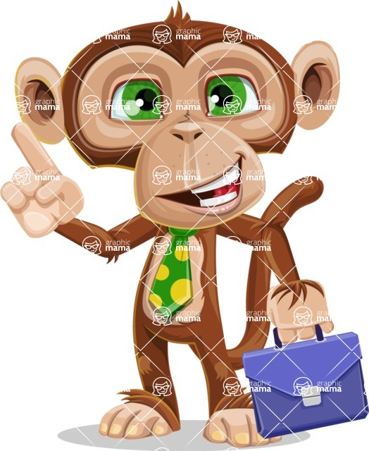 Ape Businessman Cartoon Vector Character AKA Bizzo - Briefcase 2
