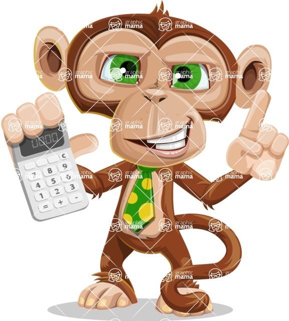 Ape Businessman Cartoon Vector Character AKA Bizzo - Calculator