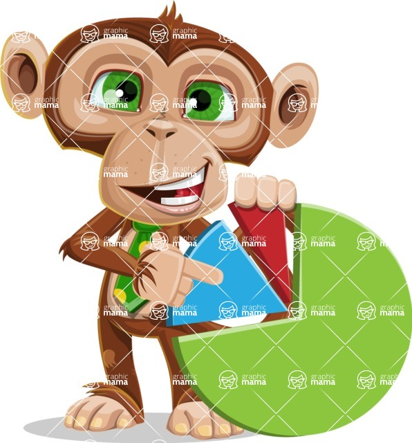 Ape Businessman Cartoon Vector Character AKA Bizzo - Chart