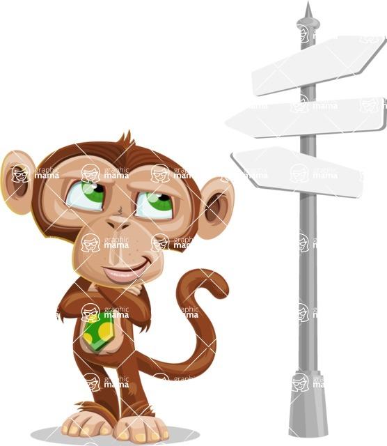Ape Businessman Cartoon Vector Character AKA Bizzo - Crossroad