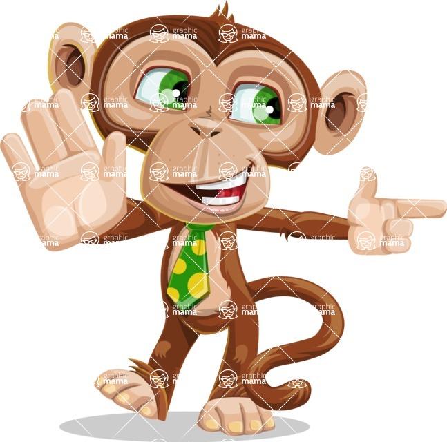 Ape Businessman Cartoon Vector Character AKA Bizzo - Direct Attention 2