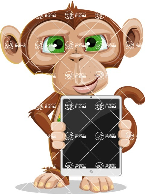 Ape Businessman Cartoon Vector Character AKA Bizzo - iPad 1