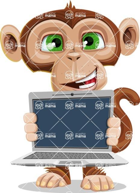 Ape Businessman Cartoon Vector Character AKA Bizzo - Laptop 2