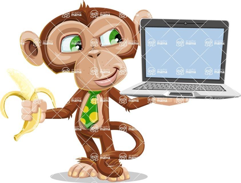 Ape Businessman Cartoon Vector Character AKA Bizzo - Laptop 3