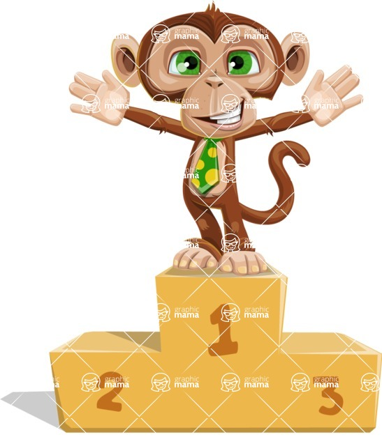 Ape Businessman Cartoon Vector Character AKA Bizzo - On Top