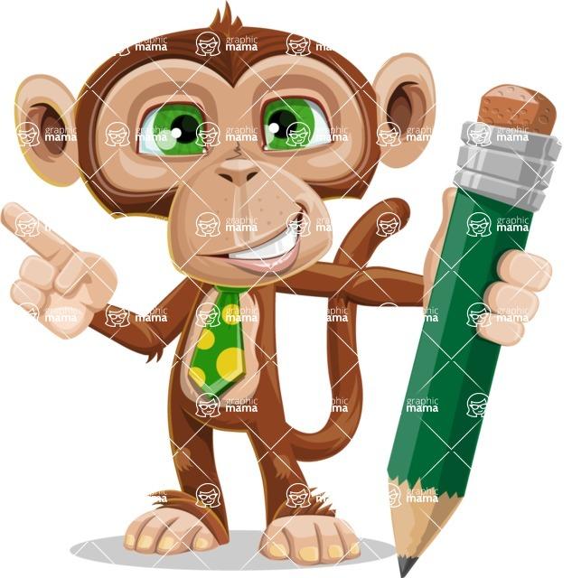 Ape Businessman Cartoon Vector Character AKA Bizzo - Pencil