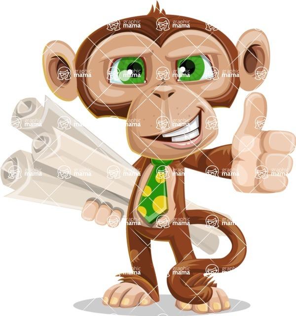 Ape Businessman Cartoon Vector Character AKA Bizzo - Plans