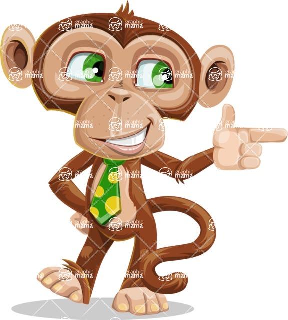 Ape Businessman Cartoon Vector Character AKA Bizzo - Point