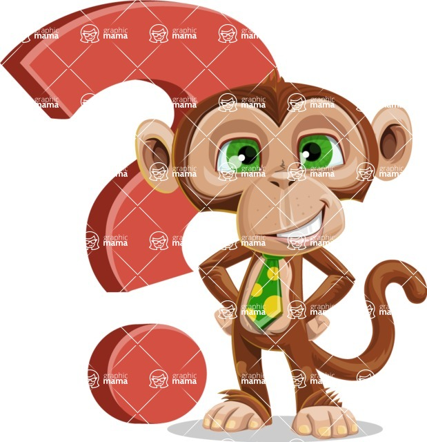 Ape Businessman Cartoon Vector Character AKA Bizzo - Question