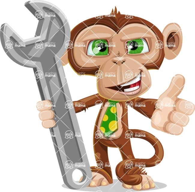 Ape Businessman Cartoon Vector Character AKA Bizzo - Repair