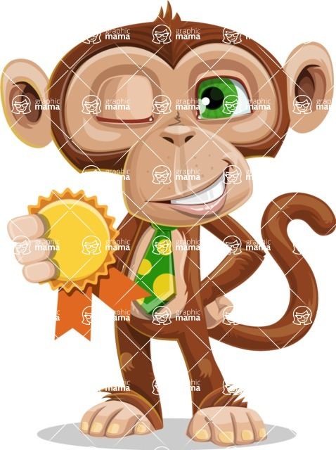 Ape Businessman Cartoon Vector Character AKA Bizzo - Ribbon