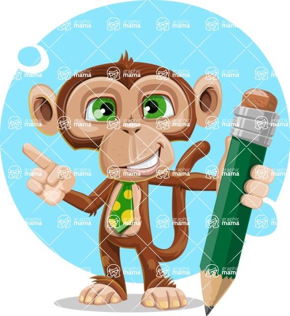 Ape Businessman Cartoon Vector Character AKA Bizzo - Shape 12