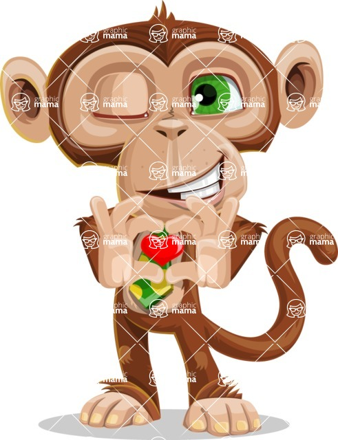Ape Businessman Cartoon Vector Character AKA Bizzo - Show Love