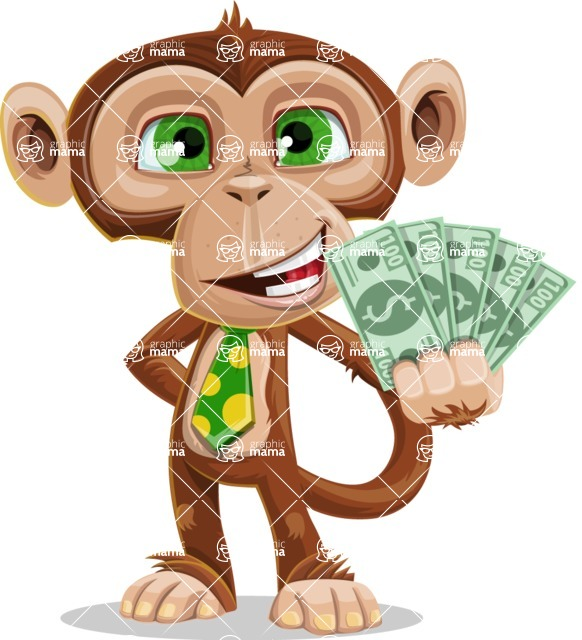 Ape Businessman Cartoon Vector Character AKA Bizzo - Show me  the Money