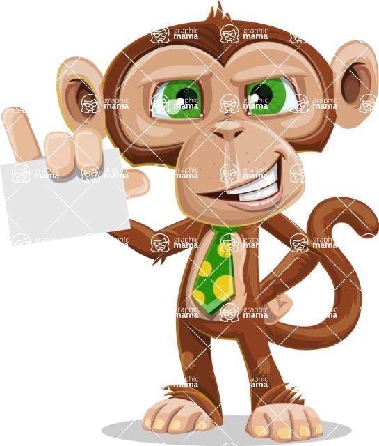 Ape Businessman Cartoon Vector Character AKA Bizzo - Sign 1