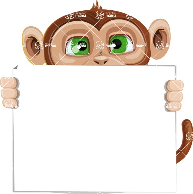 Ape Businessman Cartoon Vector Character AKA Bizzo - Sign 5