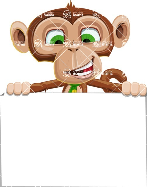 Ape Businessman Cartoon Vector Character AKA Bizzo - Sign 6