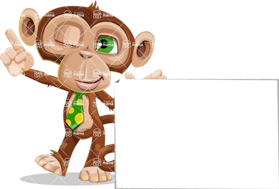 Ape Businessman Cartoon Vector Character AKA Bizzo - Sign 7