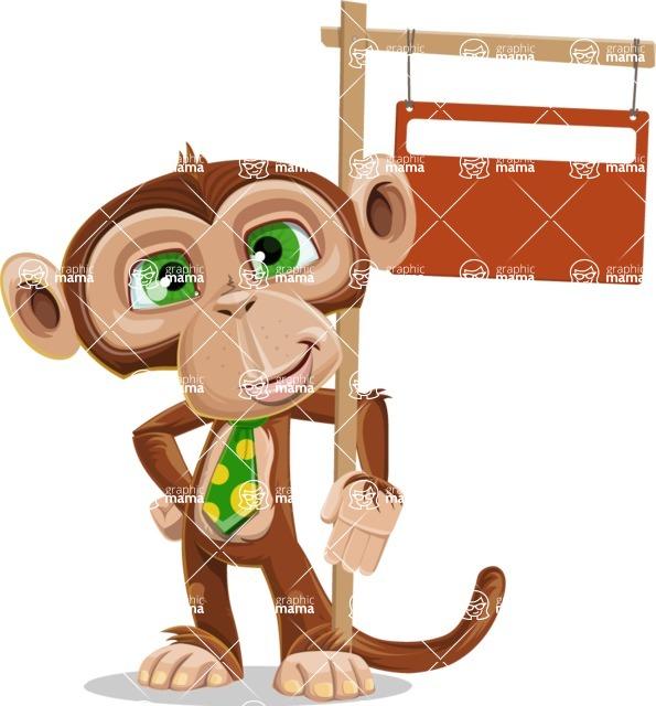 Ape Businessman Cartoon Vector Character AKA Bizzo - Sign 9