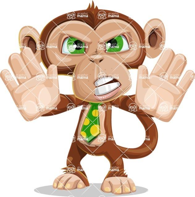 Ape Businessman Cartoon Vector Character AKA Bizzo - Stop