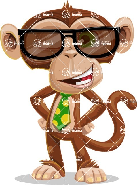 Ape Businessman Cartoon Vector Character AKA Bizzo - Sunglasses