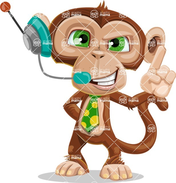 Ape Businessman Cartoon Vector Character AKA Bizzo - Support 2