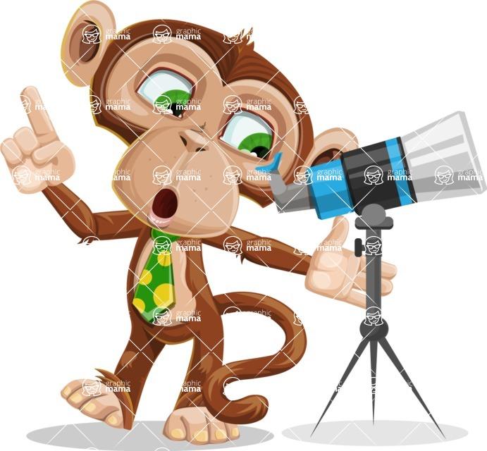 Ape Businessman Cartoon Vector Character AKA Bizzo - Telescope