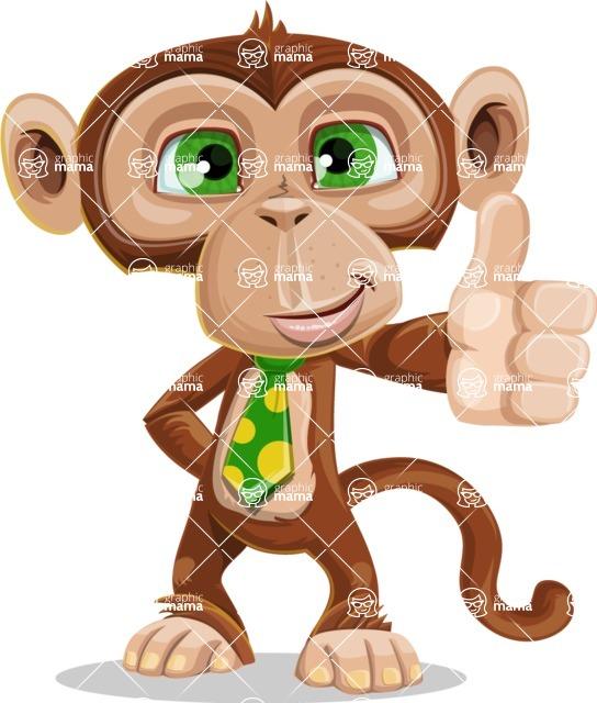 Ape Businessman Cartoon Vector Character AKA Bizzo - Thumbs Up