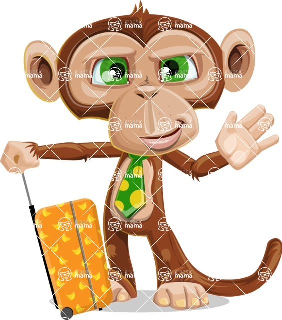 Ape Businessman Cartoon Vector Character AKA Bizzo - Travel 1