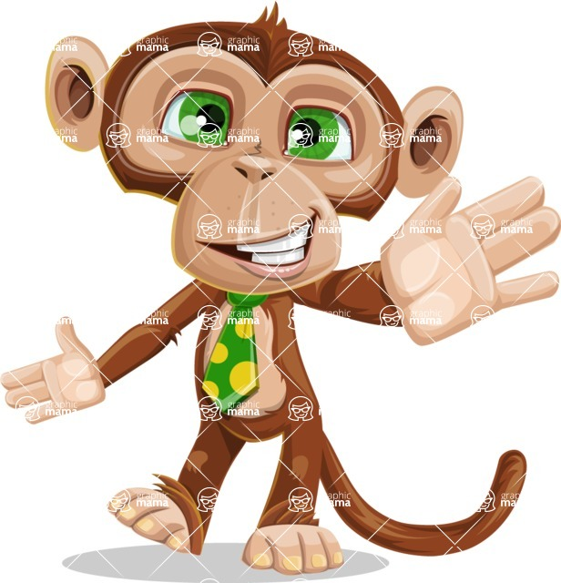 Ape Businessman Cartoon Vector Character AKA Bizzo - Wave