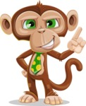 Ape Businessman Cartoon Vector Character AKA Bizzo - Attention