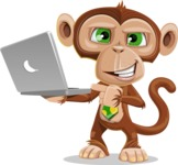 Ape Businessman Cartoon Vector Character AKA Bizzo - Laptop 1
