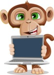 Ape Businessman Cartoon Vector Character AKA Bizzo - Laptop 2