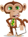 Ape Businessman Cartoon Vector Character AKA Bizzo - Notepad 4