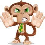 Ape Businessman Cartoon Vector Character AKA Bizzo - Stop