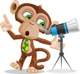Ape Businessman Cartoon Vector Character AKA Bizzo - Telescope