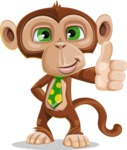 Ape Businessman Cartoon Vector Character AKA Bizzo - Thumbs Up