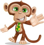 Ape Businessman Cartoon Vector Character AKA Bizzo - Wave