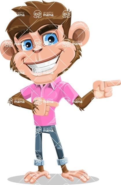 Ape Cartoon Vector Character AKA Dunc the Funky Monkey - Point 2