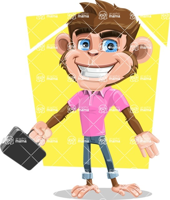 Ape Cartoon Vector Character AKA Dunc the Funky Monkey - Shape 5
